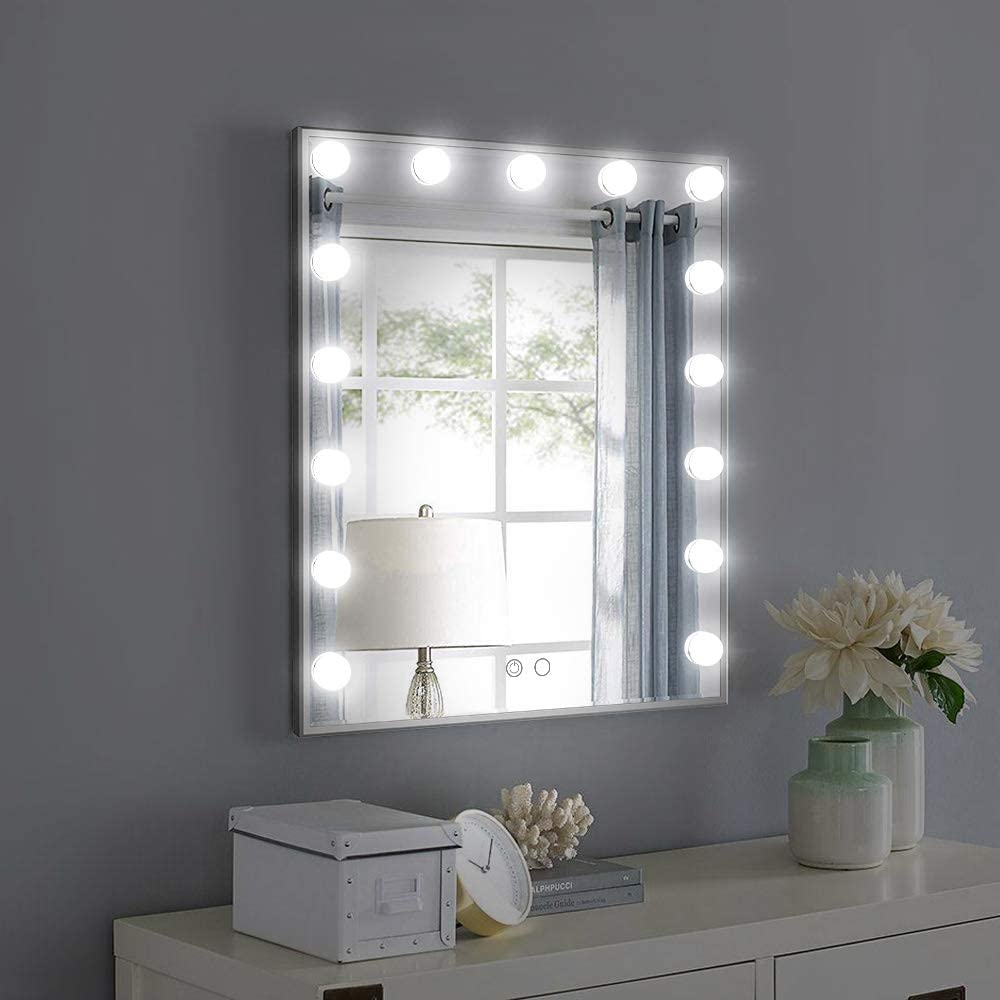 BEAUTME Hollywood Miroir de Maquillage avec lumi/ères LED /à intensit/é Variable Touch Control Table//Miroir Mural avec 15 Ampoules LED