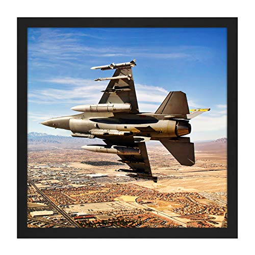 Bloker Military USA F-16 Fighter Jet Over Las Vegas Square Wooden Framed Wall Art Print Picture 16X16 Inch