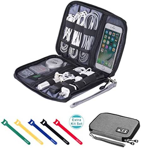 Travel Cable Organizer Bag Waterproof Portable Electronics Accessories Case with 5 Cable Ties for USB Cable Cord Phone Charger Headset Wire SD Card