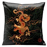 Lama Kasso Exotic Asia Red Dragon Flying Across a Black Satin 18-Inch Square Pillow, Black on Reverse Side