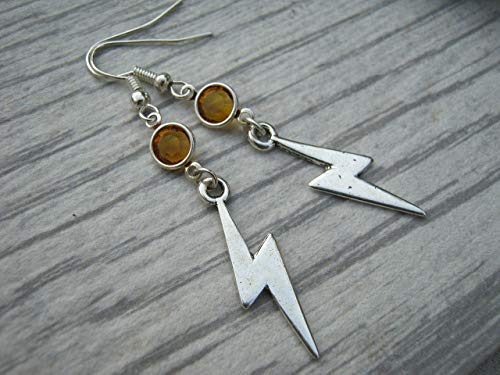 Lightning Birthstone Earrings, Personalized Lightning Bolt Earrings, Weather