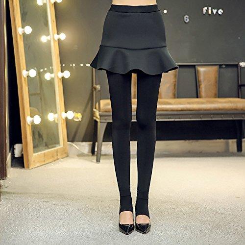 GBHNJ Leggings Femmes Mince Taille Haute Plus Épais Peuvent Être Portés À L'Extérieur Pantalon Coton Noir Transparent F(Poids Approprié 80-130 Catty)