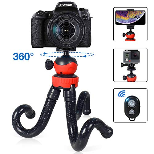 """YAKAON Flexible Phone Tripod, 12"""" Cellphone Stand Holder 360° Rotatable for iPhone/Android/Canon/Nikon/DSLR/GoPro Camera, Cellphone Camera Tripod with Bluetooth Remote from YAKAON"""