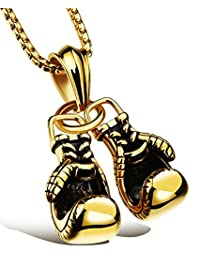 Hamoery Men Stainless Steel Boxing Gloves Chain Pendant Necklace