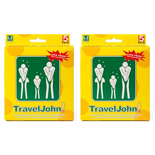 Travel John Disposable Vomit/Urine Combo Bag for Adults and Children - Portable 2 in 1 Urinal and Sickness Bags for Traveling, Pregnancy, Illness - Odorless, Hygienic, Non-Toxic (2 Pack/10 Bags) (2) by