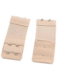Gleader 3 Pcs Ladies Underwear 2 Rows Hooks Stretchy Bra Strap Extender Beige
