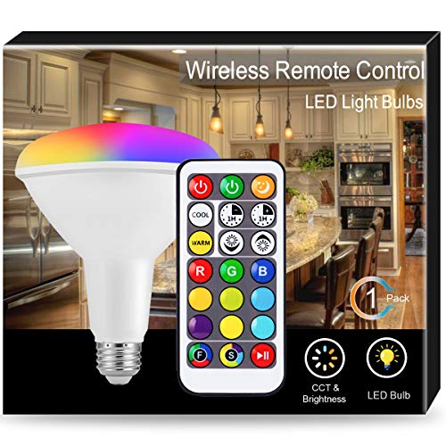 JandCase LED Color Changing Light Bulb, BR40 Floodlight, Dimmable Reflector Bulb, 15W RGB LED, 120W Equivalent, 1200LM, Recessed Lighting for Kitchen, Party, Remote Control, E26 -