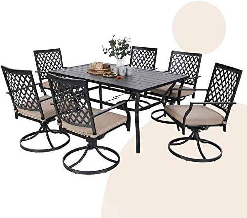 MFSTUDIO 7-Piece Metal Outdoor Patio Dining Furniture Set