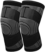 MoKo Knee Compression Sleeve, [2 Pack] Adjustable Knee Brace Knee Pad with Strap Knee Support for Runining, Ba