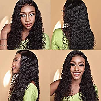 Image of Brazilian Water Wave Wig Curly Lace Front Human Hair Wigs for Black Women 150% Density 100% Unprocessed Virgin Human Hair Curly Wig Pre Plucked Natural Hairline with Baby Hair(20 Inch, Natural Color)