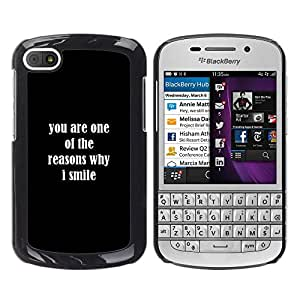 Paccase / SLIM PC / Aliminium Casa Carcasa Funda Case Cover para - Reasons Smile You Love Positive Quote Romance - BlackBerry Q10