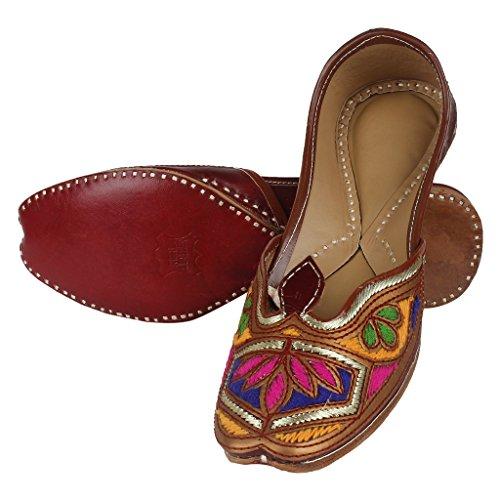 Saashiwear Vrouwen Handgemaakte Indiase Etnische Platte Schoenen Mojari Jutti