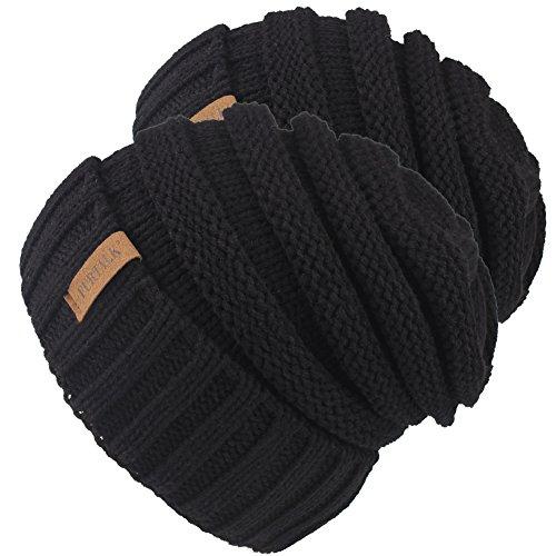 Knitted Winter Slouchy Beanie Hat - FURTALK Oversized Unisex Crochet Cable Ski Cap Baggy Slouch Hats For Women Men 2 PCS Pack