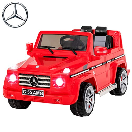 (Uenjoy Mercedes Benz AMG G55 12V Kids Electric Ride On Car, Battery Power Motorized SUV, Remote Control, Suspension,Lights, AUX in, Music, Larger Size, Red)