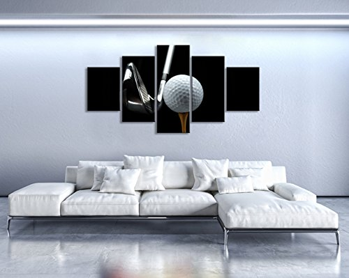 KLVOS XLarge 5 Piece Black and White Canvas Wall Art White Golf and Silver Golf Clubs Framed Sports Poster Prints Contemporary Art Modern Home Decoration Living Room Decor Ready to Hang 32inch x60inch (Framed Club Golf)
