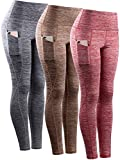 Neleus Tummy Control High Waist Workout Running Leggings for Women,9033,Yoga Pant 3 Pack,Red,Grey,Brown,S,EU M