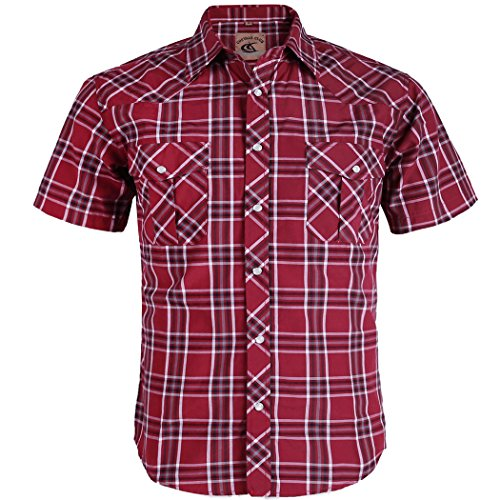 Coevals Club Men's Button Down Plaid Short Sleeve Work Casual Shirt (Red #8, XXL) ()
