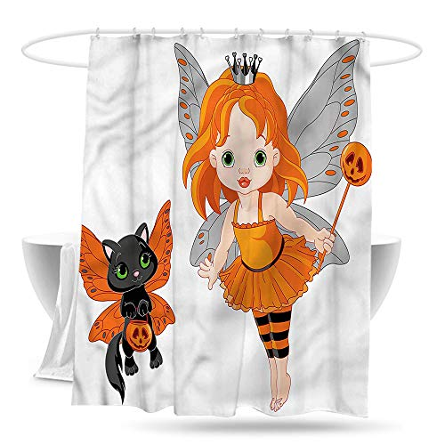 Sweet decoration Custom Shower Curtain Halloween Baby Fairy and Her Cat Waterproof Colorful Funny -