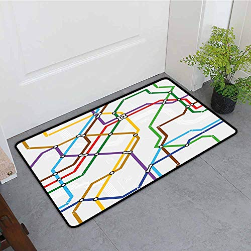 (ONECUTE Indoor Doormat,Map Stripes in Vibrant Colors Metro Scheme Subway Stations Abstract Railroad Transportation,Easy Clean Rugs,35