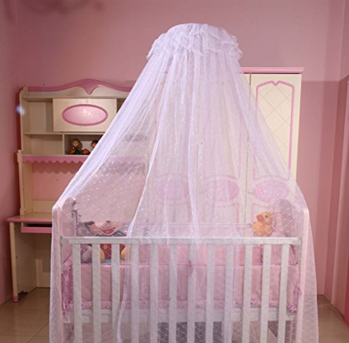 RuiHome Baby Dome Mosquito Net Nursery Crib Bed Canopy Mesh Insect Netting without Stand, White