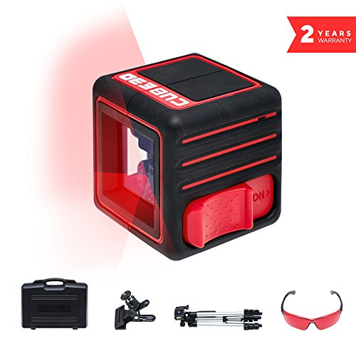 ADA Cube 3D Ultimate Edition, Laser Level complete Kit, Crossline Self-Leveling Laser Leve, 20 Meters (65 feet) Batteries, case, Universal mount,Tripod, Laser glasses included (Crossline Laser Level Kit)