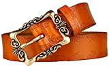 Orange Retro Leather Pin Buckle Belt Flower Print Designer Belt for Women