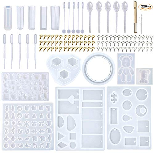 (EuTengHao 229Pcs DIY Jewelry Casting Molds Tools Set More Than 120 Designs Contains 9 Silicone Jewelry Resin Molds with 70 Designs,1 Earring Molds with 25 Designs,2 Necklace Bear Molds,3 Diamonds)