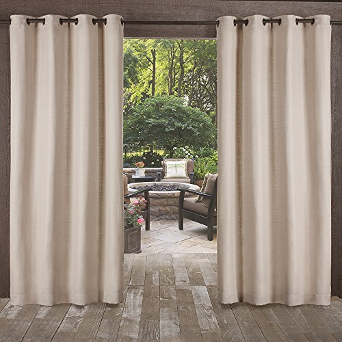 Exclusive Home Curtains Delano Indoor/Outdoor Heavy Textured Grommet Top Window Curtain Panel Pair, Taupe, 54x96 (Curtain Outdoor Window Panel)