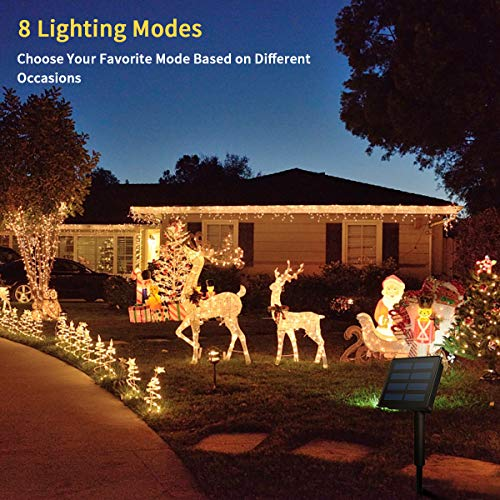 Morpilot Solar String Lights, 33ft 200LED Outdoor String Lights, Waterproof Decorative String Lights for Patio, Garden, Gate, Yard, Party, Wedding, Christmas (Warm White) by Morpilot (Image #3)