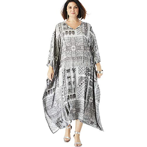 Roamans Women's Plus Size Georgette Caftan Dress with Kimono Sleeves - Gray Multi Floral, ()