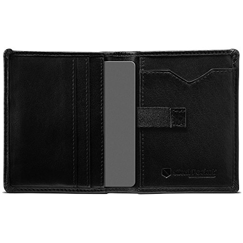Fold Bi Vertical - Silent Pocket Black Leather RFID Blocking Vertical Slide Mens Bi-Fold Wallet - Great for Travel, Secure Your Information