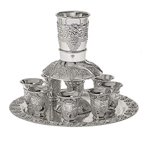 Grapes Motifs Silver Plated 8 Cup Kiddush Wine Fountain