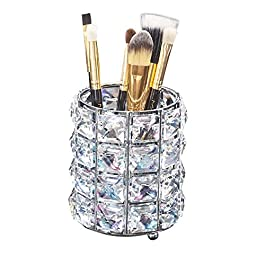 AiLa Makeup Brush Holder Organizer Golden Crystal Bling Personalized Gold Comb Brushes Pen Pencil Storage Box Container (Crystal Pot-Sliver)