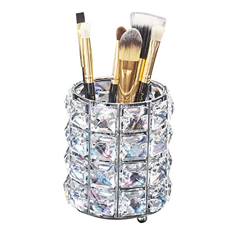 (Aila Makeup Brush Holder Organizer Golden Crystal Bling Personalized Gold Comb Brushes Pen Pencil Storage Box Container (Crystal Pot-Sliver) )