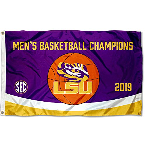 (College Flags and Banners Co. Louisiana State LSU Tigers 2019 Mens SEC Basketball Champions Flag)