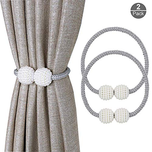 OOTSR Pearl Ball Window Holdbacks with Magnets for Blackout Curtains and Drapes - Classic European Curtain Magnetic Tieback for Home and Office Decoration (Gray) ()