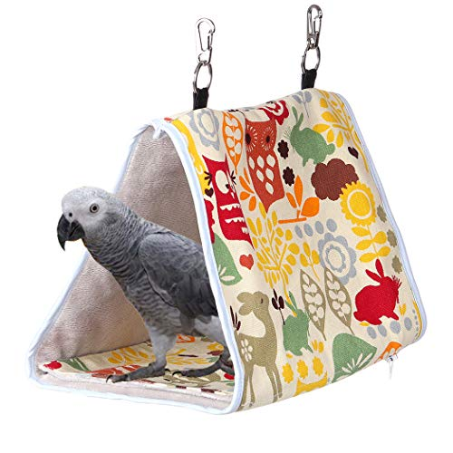 - KINTOR Bird Nest Snuggle Hut,Parrot Habitat Cave Hanging Tent for Small Medium Parrots Budgies Eclectus Parakeet Cockatiels Lovebird African Grey (M-10.6x6.3x7.5, Yellow Owl)
