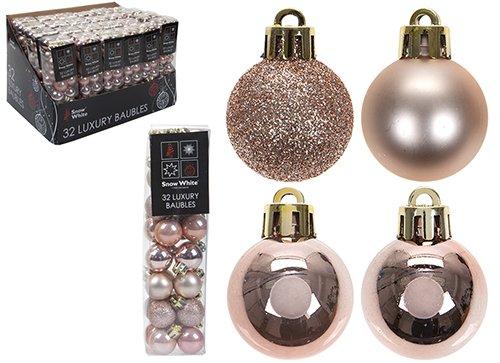 Christmasshop Paquete de 32 - Adornos de árbol de Navidad de Oro Rosa de 3,5 cm. - Diseño Brillante Mate y Brillante -...