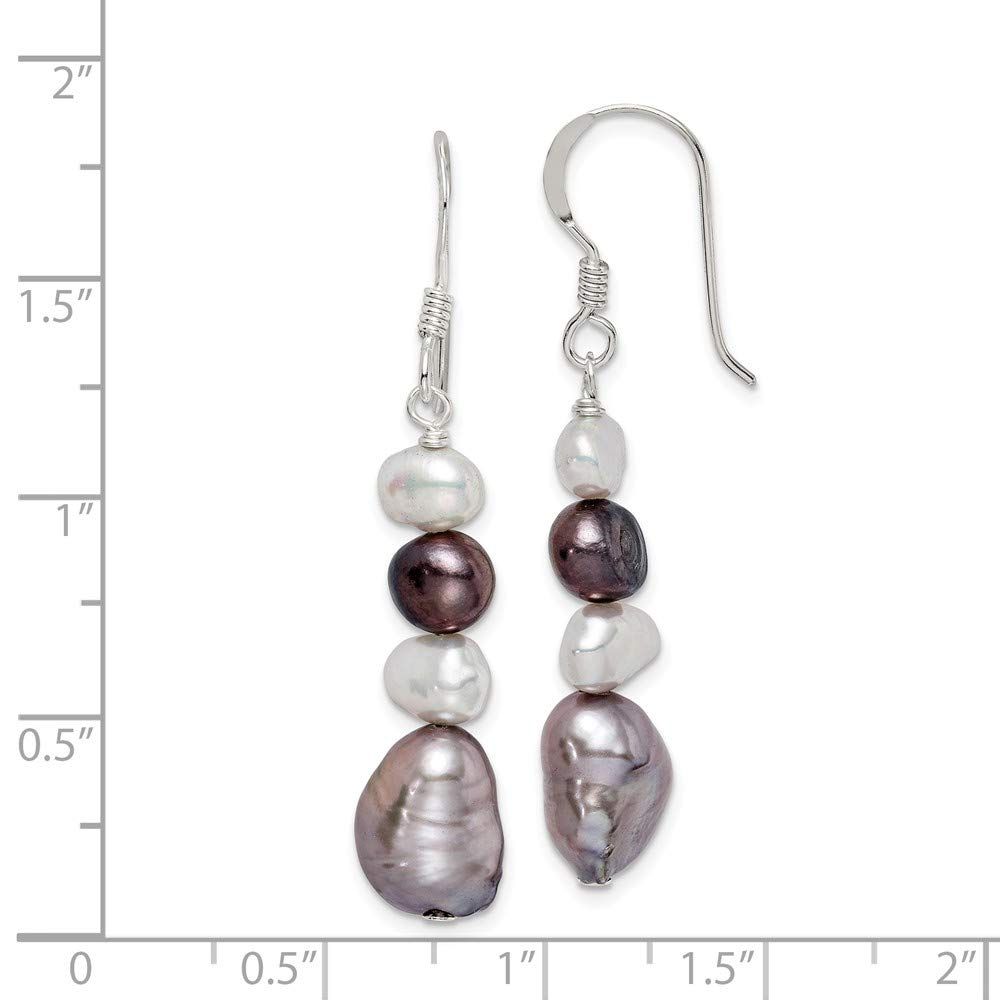 44mm x 8mm Solid 925 Sterling Silver White /& Grey Freshwater Cultured Pearl Earrings