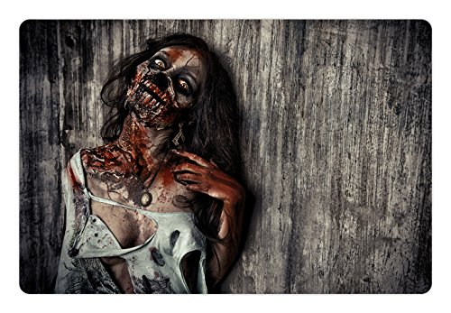Ambesonne Zombie Pet Mat for Food and Water, Angry Dead Woman Sacrifice Fantasy Design Mystic Night Halloween Image, Rectangle Non-Slip Rubber Mat for Dogs and Cats, Dark Taupe Peach Red