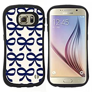 "Pulsar iFace Series Tpu silicona Carcasa Funda Case para Samsung Galaxy S6 , Arco Patrón Bowtie Azul Blanco Limpio"""