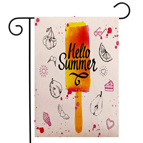 - Custom Double Sided Seasonal Garden Flag Ice Cream Decor Hello Summer Motivational Quote with Lime Heart Sun Cake Color Splash Image Multicolor Welcome House Flag for Patio Lawn Outdoor Home Decor