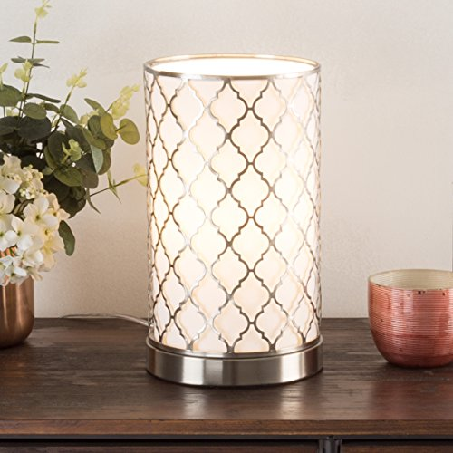 Lavish Home 72-Uplt-3 Table Lamp with Steel Finish, Fabric Overwrap, Laser Cut Quatrefoil Pattern and Included LED Light Bulb for Home Uplighting (Quatrefoil Lamp)