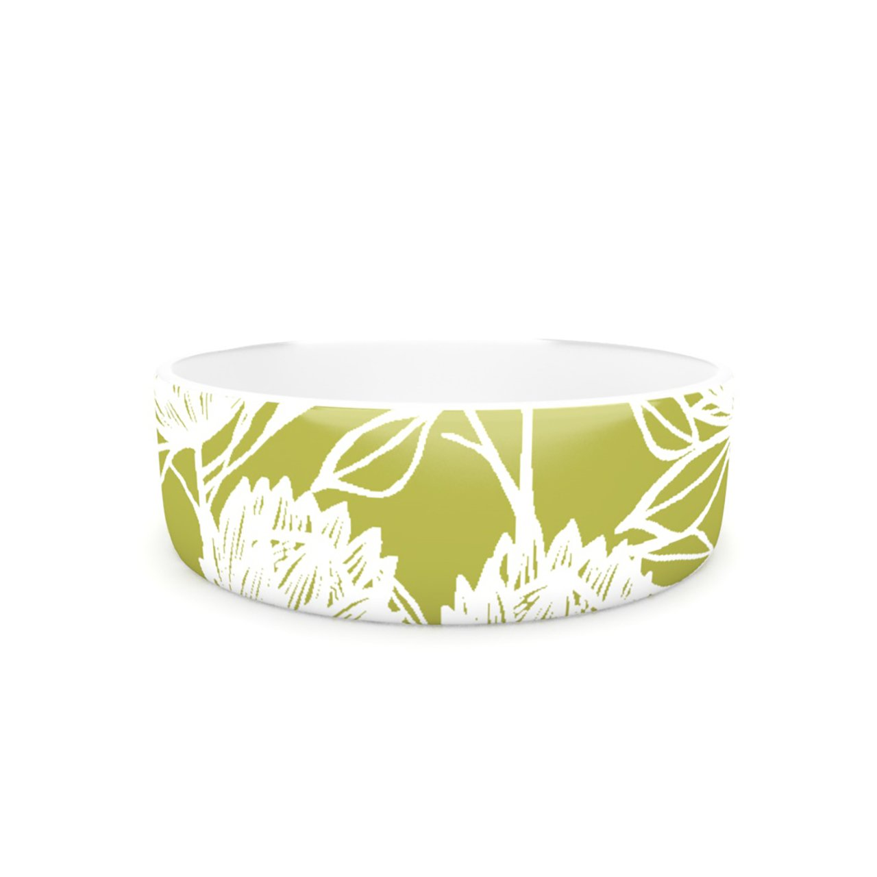 Kess InHouse Gill Eggleston Predea Olive White  Pet Bowl, 7-Inch, Green Flowers