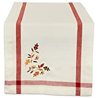 "DII 14x108"" Cotton Table Runner, Cream with Embroidered Fall Leaves - Perfect for Fall, Thanksgiving, Special Occasions or Everyday Use"