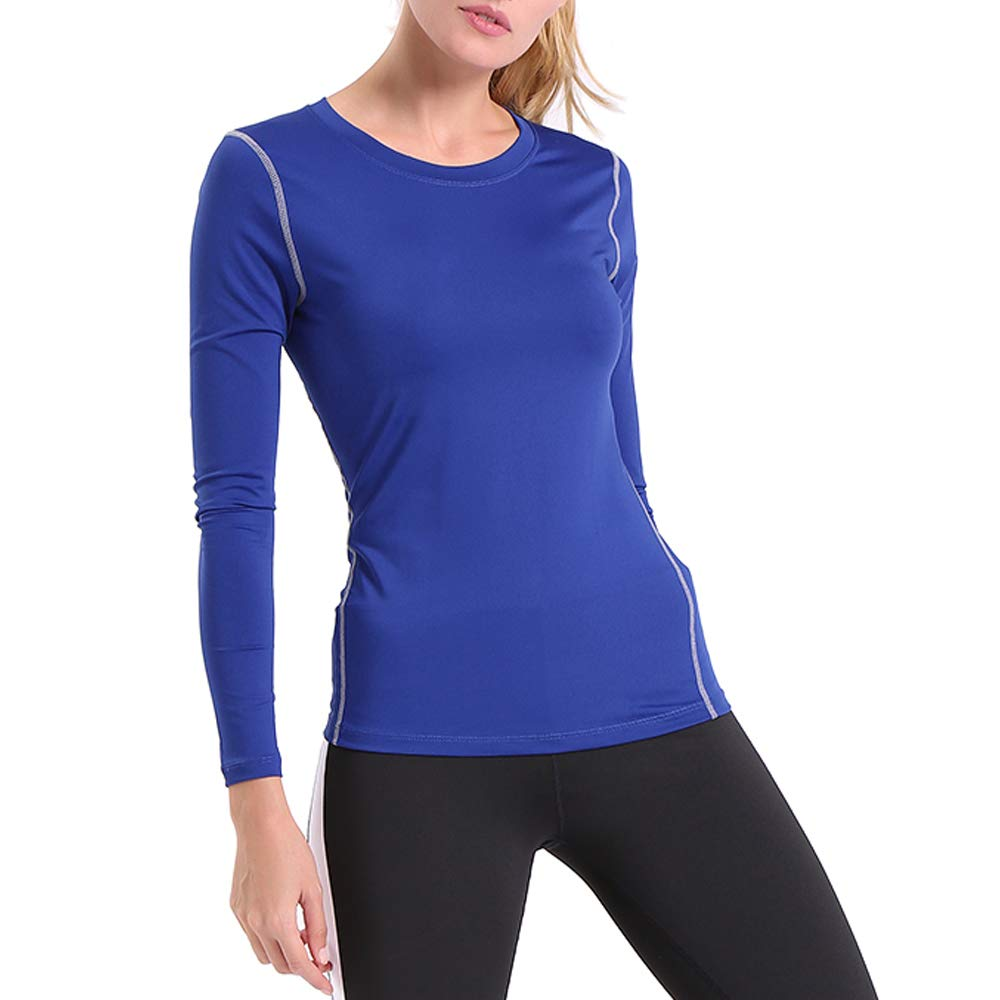 ENIDMIL Women's Compression Shirts Base Layer Dry Fit Tank Top (M, Blue)