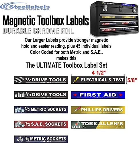 Toolboxes autocollants pour douilles Socket étiquette et boîte à outils Label Combo Decal Set