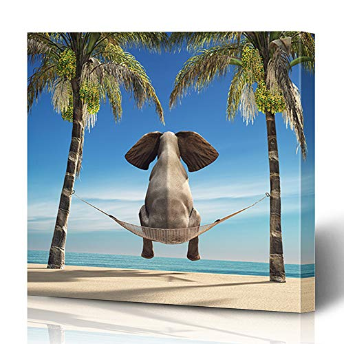 Ahawoso Canvas Prints Wall Art 16x16 Inches Tree Summer Elephant Sitting Hammock On Beach Mammal Look Surreal Funny Abstract African Composite Wooden Frame Printing Home Living Room Office Bedroom