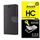 Avzax Flip Cover With Magnetic Closure (Black) with Tempered Glass For Micromax Canvas Amaze 4G Q491