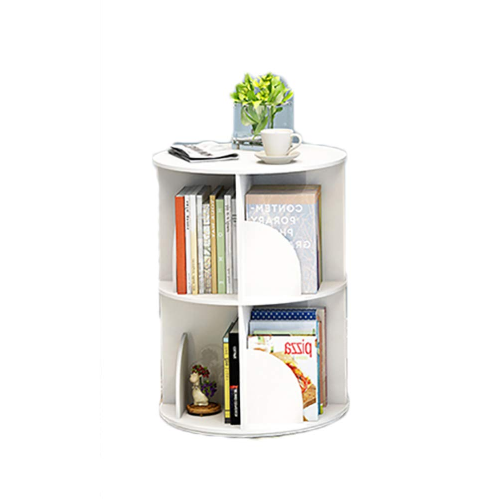 A 40x66cm(16x26inch) Revolving Bookshelf,Easy Assembly Multifunctional Bookcase Simple Modern Table Floor-Standing Storage Rack Multi-Tier for Home-B 40x97cm(16x38inch)